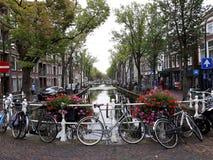 Paisaje hermoso de la cerámica de Delft vieja de la ciudad con las flores, el canal y las bicis imagen de archivo libre de regalías