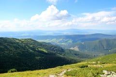 Paisaje hermoso de la montaña con la vegetación en el fondo del cielo azul foto de archivo