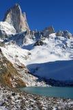 Paisaje hermoso de la naturaleza con Mt. Fitz Roy como se ve en el parque nacional del Los Glaciares, Patagonia, la Argentina Imagen de archivo