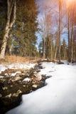 Paisaje hermoso de la primavera con el río y Foto de archivo