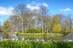 Paisaje hermoso de la primavera con flores y un lago en el parkKe Imagen de archivo