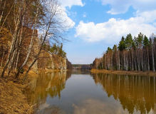 Paisaje hermoso de la primavera en el río Chusovaya, Rusia Fotografía de archivo libre de regalías