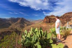 Paisaje hermoso de las montañas de Gran Canaria Foto de archivo