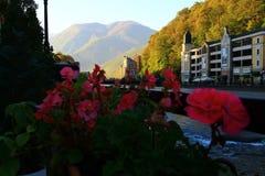 Paisaje hermoso de los Mountain View de Rosa Khutor imagenes de archivo
