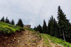 Paisaje hermoso de montañas rumanas Negoiu Porumbacu de Sus Cabaña Negoiu Sibiu Día de fiesta i de Forest Amazing imagenes de archivo