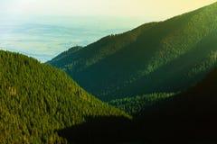 Paisaje hermoso de montañas rumanas Negoiu Porumbacu de Sus Cabaña Negoiu Sibiu Día de fiesta i de Forest Amazing fotos de archivo libres de regalías