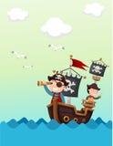 Paisaje hermoso del barco pirata libre illustration