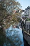 Paisaje hermoso del canal con la reflexión de los árboles en poca Venecia en Colmar Foto de archivo libre de regalías