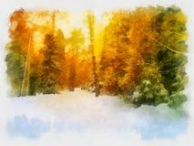 Paisaje hermoso del invierno, acuarela Imágenes de archivo libres de regalías