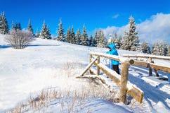 Paisaje hermoso del invierno con la mujer en el puente Fotos de archivo