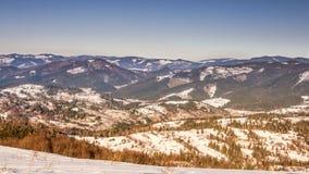 Paisaje hermoso del invierno con los árboles nevados Montañas del invierno almacen de metraje de vídeo
