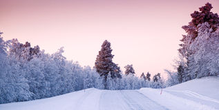 Paisaje hermoso del invierno en Laponia Finlandia imagen de archivo libre de regalías