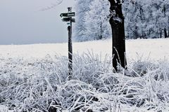 Paisaje hermoso del invierno - Sajonia, Alemania Fotografía de archivo libre de regalías