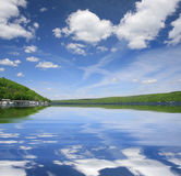 Paisaje hermoso del lago Foto de archivo