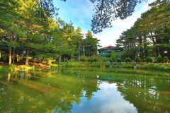 Paisaje hermoso del lago con los árboles Imagen de archivo libre de regalías