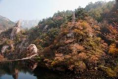 Paisaje hermoso del otoño de la montaña de Laoshan de China Foto de archivo