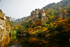 Paisaje hermoso del otoño de la montaña de Laoshan de China Imagenes de archivo