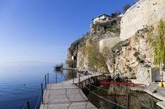 Paisaje hermoso del otoño en el lago Ohrid Imágenes de archivo libres de regalías