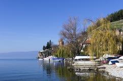 Paisaje hermoso del otoño en el lago Ohrid Fotografía de archivo