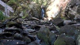Paisaje hermoso del río de las montañas con muchas piedras gigantes y escaleras de madera en un día soleado cantidad tranquil almacen de metraje de vídeo