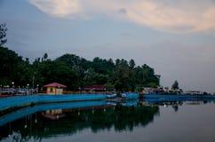 Paisaje hermoso en el crepúsculo del terraplén del mar de Andaman para virar a Blair India hacia el lado de babor Fotografía de archivo