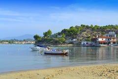 Paisaje hermoso Grecia de la playa de la bahía Foto de archivo
