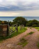 Paisaje hermoso, misterioso de la playa en Inglaterra, fotos de archivo