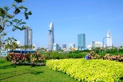 Paisaje hermoso por la mañana del centro Ho de la ji Minh City Imagen de archivo
