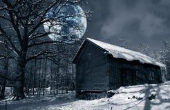 Paisaje hivernal de la nieve con la lleno-luna surrealista Foto de archivo libre de regalías