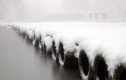 Paisaje holandés de la nieve con el lago y los árboles Foto de archivo