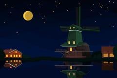 Paisaje holandés en la noche Foto de archivo libre de regalías