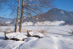 Paisaje idílico del invierno en el schliersee del lago con los bancos nevosos Imagenes de archivo