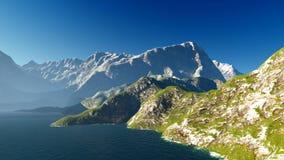 Paisaje idílico del verano en la representación de las montañas 3d stock de ilustración