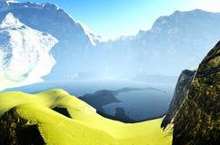 Paisaje idílico del verano en la representación de las montañas 3d ilustración del vector