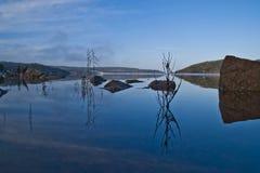 Paisaje, Iddefjord visto de perspectiva de la rana Foto de archivo