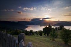 Paisaje ideal en la puesta del sol Foto de archivo libre de regalías