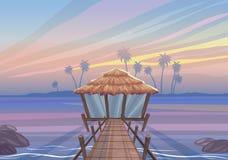 Paisaje idealista en una isla tropical, puente de madera a la casa de la casa de planta baja libre illustration