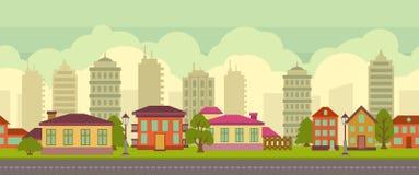 Paisaje inconsútil de la ciudad en estilo plano stock de ilustración