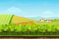 Paisaje inconsútil de la historieta con madera, montañas y colinas del bosque con las casas del pueblo de la granja Paisaje para  stock de ilustración