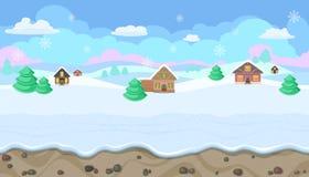 Paisaje inconsútil de la Navidad con las colinas y las casas para el diseño de juego ilustración del vector