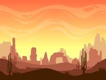 Paisaje inconsútil del desierto de la historieta ilustración del vector