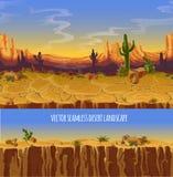 Paisaje inconsútil del desierto del vector Bandera de la historieta del juego