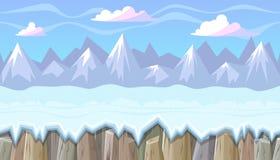 Paisaje inconsútil del invierno con las montañas rocosas para el diseño de juego de la Navidad Fotos de archivo