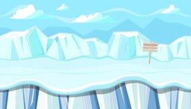 Paisaje inconsútil del invierno con los icebergs para el diseño de juego de la Navidad Imagen de archivo libre de regalías