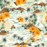 Paisaje inconsútil retro del modelo de la isla con estilo exhausto del treeshibicus, de las flores, de la playa y del océano del  libre illustration