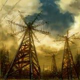 Paisaje industrial de la ciencia ficción fotografía de archivo