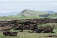 Paisaje islandés con colores silenciados y rocas abstractas Fotos de archivo