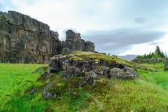 Paisaje islandés del verano en el parque nacional de Thingvellir Imagen de archivo