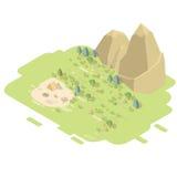 Paisaje isométrico con las montañas Imágenes de archivo libres de regalías