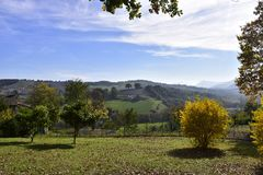 """Paisaje, Italia, 'ochy, krajobraz, relais del ³ del gÃ, drzewo, """"del jesieÅ, soleado, día de WÅ, Fotos de archivo libres de regalías"""
